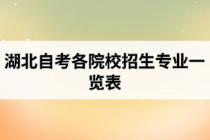 湖北自考各院校招生专业一览表