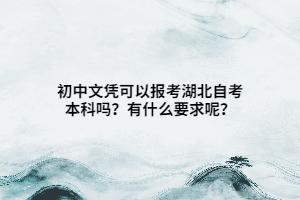 初中文凭可以报考湖北自考本科吗?有什么要求呢?